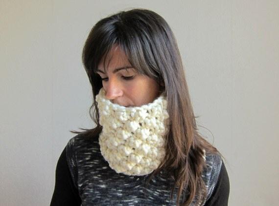 Hand Knitted neckwarmer / Headband. Pearly white