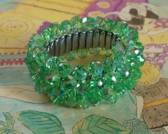 Green AB Crystal Stretch Bracelet 50s Vintage