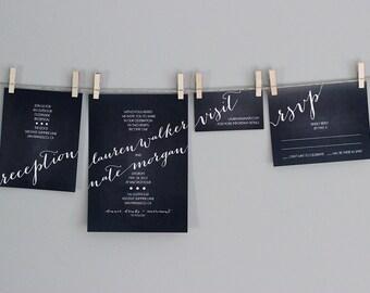 Modern Whimsical Wedding Invitations - Printable Files - Chalkboard & White