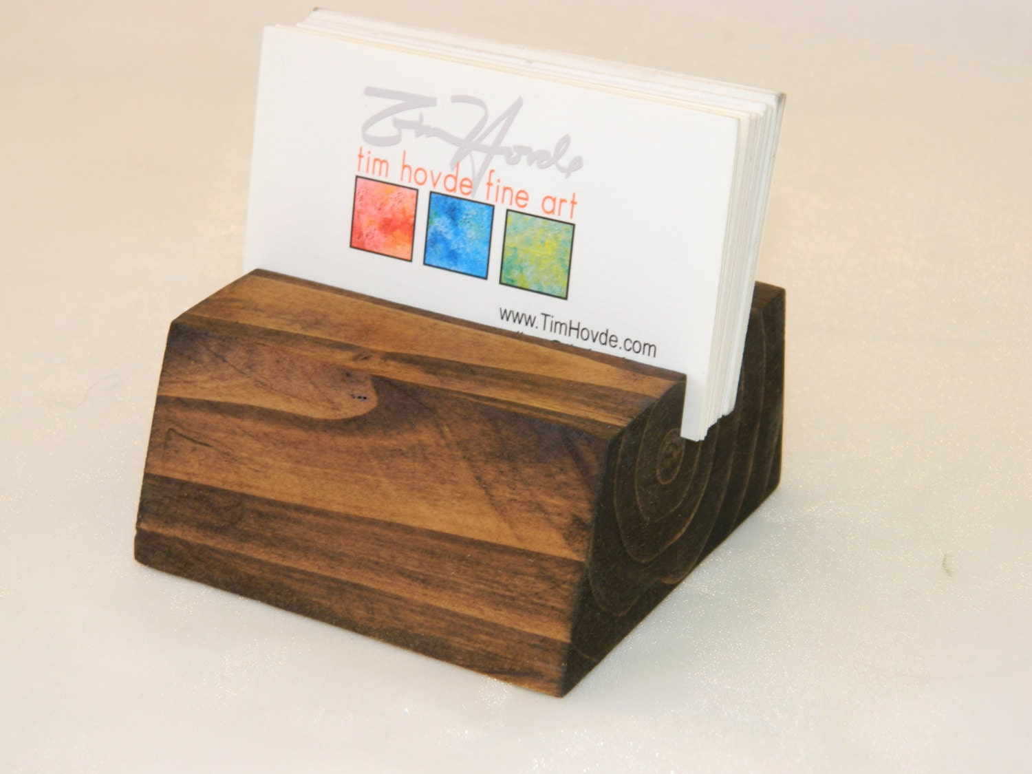 Rustic Wood Business Card Holder Table top card by G360design