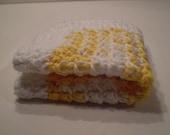 Crochet Cotton Dish Cloth Star Burst Design- Hand Made, Cotton Yarn - Bright Yellow and White
