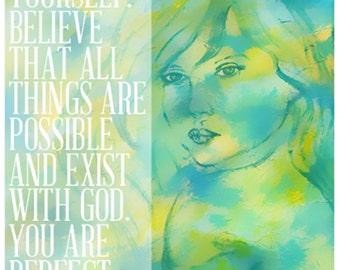 8 x 10 Inspirational Word Art Poster, Feminine Inspiration, Believe In Yourself, Green & Yellow-Typography-Wall Art-Modern-Fresh-