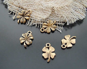 10 Four Leaf Clover Charms Antique Gold Tone Shamrock Irish Celtic Lucky St. Patrick's Day Charm Jewelry 18 x 11 mm