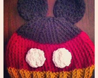 Hand knitted Mickey Mouse Disney inspired beanie hat