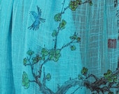 Cherry Blossoms and Blue Bird:  Personalized Hand Painted Linen Scarf.  OOAK.