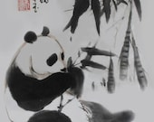 "Chinese Brush Painting: ""Panda and Bamboo II"""