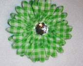 Green gingham checked flower on alligator clip with teeth.