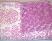 72 x 60 (XXL) Pink Rosebud Minky with Pink & White Damask Print Minky Blanket