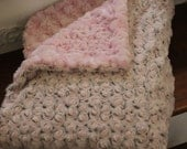 44 x 30 (M) Baby Pink Rosebud Minky and 2-Tone Baby Pink/Brown Rosebud Minky Crib Blanket