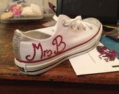Personalised wedding converse, party, bling, sneakers, trainers, sand shoes. Swarovski crystal.