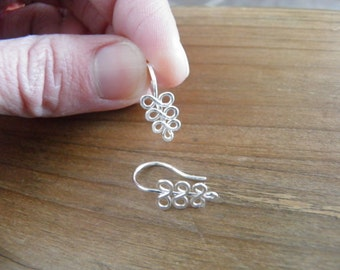 "Earrings... ""ferns"" handmade wire wrapped and hammered sterling silver earrings."