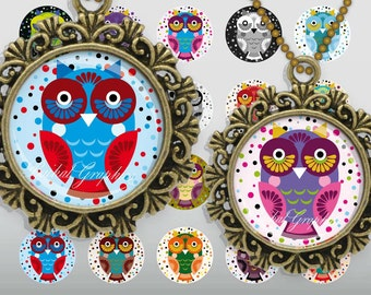 Cartoon Cute Little Owls Digital Collage Sheet 1 inch Circles Bottle cap images glass tiles resin pendants cabochon button JPG 215