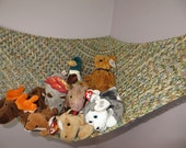 Crochet toy net hammock in variegated tan, beige, dusty blue and sage green, stuffed animal storage MADE TO ORDER