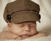 Newborn Newsboy Hat Baby Boy Toddler Infant Cap brown fabric material button summer Photography Prop special occasion wedding