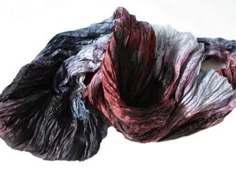 The Great Gatsby -  cherry brown, light vine, purple, grey, dark grey silk scarf.