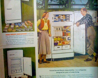Vintage Ad, Print Ad, 1930's General Electric Two- Door refrigerator Home freezer home combination Original Magazine Print Ad
