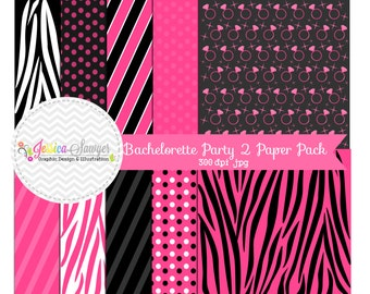 INSTANT DOWNLOAD,  Bachelorette Digital Paper - 12'' x 12'' - Printable party paper -  Commercial Use - Scrapbooking - card making