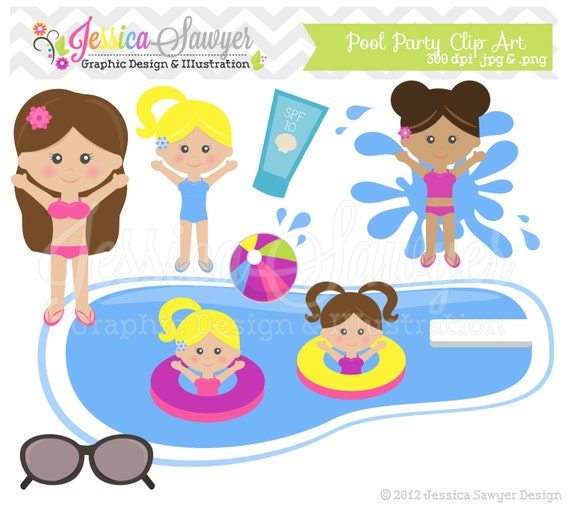 INSTANT DOWNLOAD  pool party clip art - kids birthday clipart    Kids Pool Clip Art