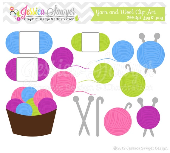 Knitting Crocheting Clipart : Items similar to instant download yarn clipart knitting