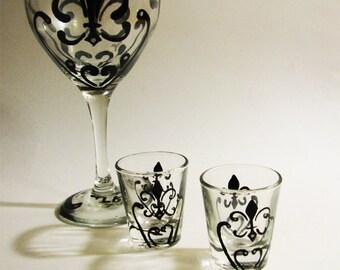 Fleur De Lis Wine Glass and Shot Glass Set