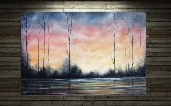 Original Forest Painting, Contemporary Tree Painting, Sunset Sky Oil Painting, Bare Trees Wall Art, 24 x 36, Large Painting
