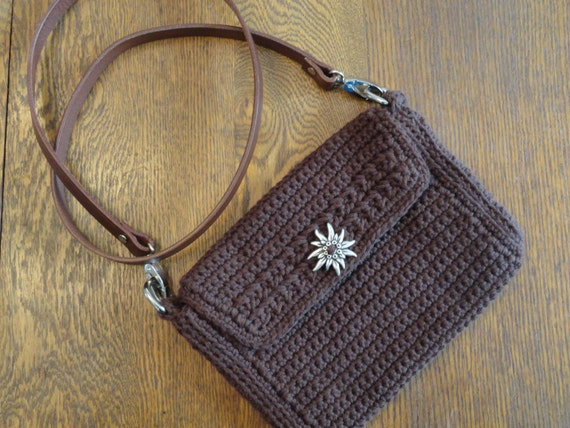 Crochet Crossbody Messenger Bag Purse Dark Brown Lined Leather Strap