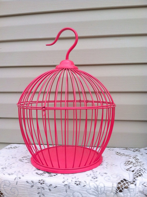 Sale Hot Pink Round Bird Cage Table Top 18 Tall