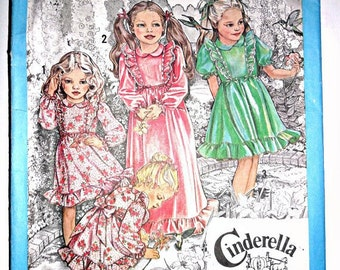 Girl's Ruffled Dress or Maxi Dress Vintage Sewing Pattern Cinderella Clothing Simplicity 9354 Size 5