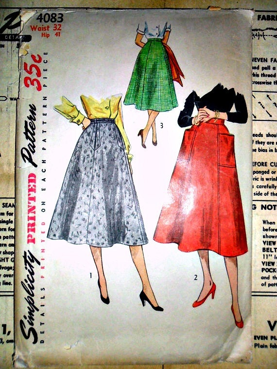 Misses and Women's Skirts Vintage 1950's Sewing Pattern Simplicity 4083 WAIST 32 Plus Size