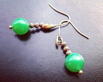 Dangle earrings. Handmade jewelry. Emerald earrings. Green bead and brass earrings. Boho jewelry. Sugarplum Gallery.