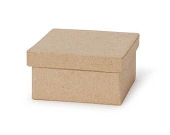 Three Inch Paper Mache Box Square Shape