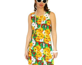 Vintage Floral Dress 80s Summer Dress. Flower Print Green Yellow Red Frock. Size Large Sundress. Mad Men Fashion. Spring fashion