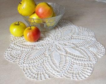 Crochet doily White handmade linen crochet doily Lace doily Crochet doilies