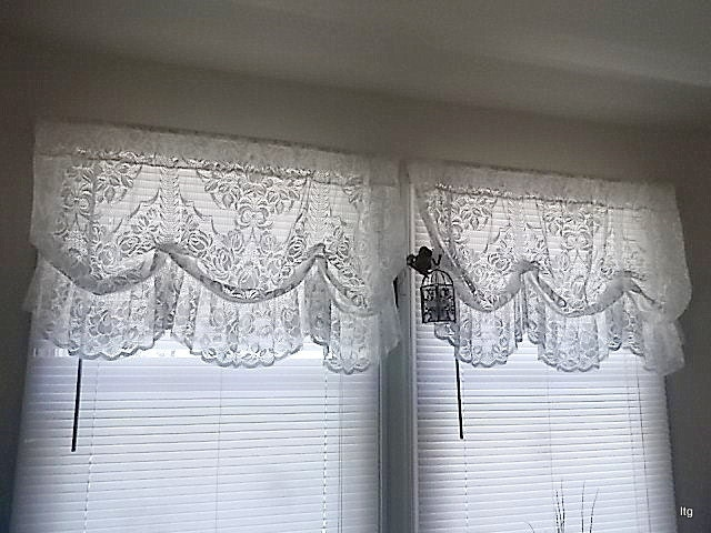 Sale Vintage White Lace Valance Curtains Three 3
