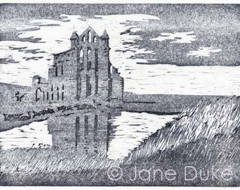 Whitby Abbey woodcut original relief print unframed limited edition hand printed
