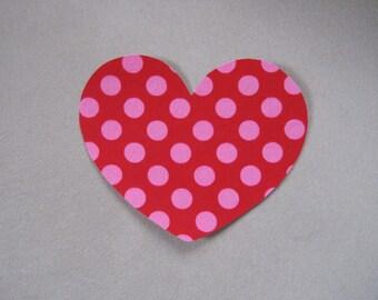 Iron on Heart, Heart Applique, Red and Pink polka dot heart, Valentine Iron On, DIY Valentine Onesie