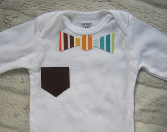 No Sew Iron-on Baby Boy Striped Bow Tie and Brown Pocket