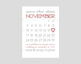 Save the Date- Save the Date Calendar Card Printable- Wedding, Parties- Custom Digital File- Printable