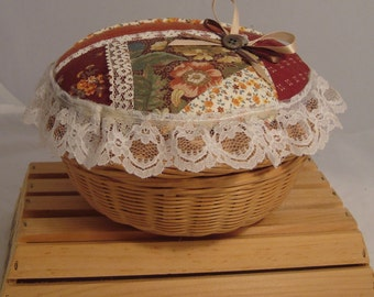 Hand-decorated Lined Sewing Basket with Patchwork Lid Detail