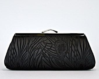 Bridesmaid Gift,  EllenVintage Peacock Black Clutch with Silk lining (choose your color) , Bridesmaid clutch, Wedding clutch, Evening bag