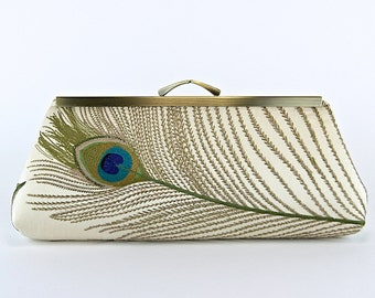 EllenVintage Peacock Embroidered Silk Clutch in Ivory (choose your color), Wedding clutch, Bridal clutch, Bridesmaid clutch, Evening bag
