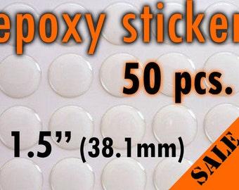"50pcs. 1.5"" - (38.1mm) Round Epoxy Sticker"