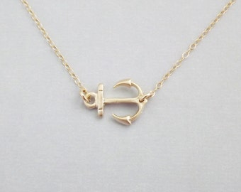 Sideways Gold Anchor on 14k Gold Filled Chain - Nautical Jewelry