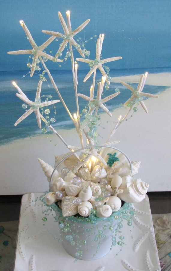 White seashell starfish wedding centerpiece decoration lights