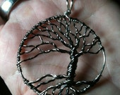 Windblown tree of life in black and titanium