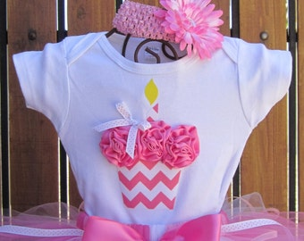 BUBBLEGUM PINK CHEVRON 3d Cupcake Onesie or T-Shirt Only - You pick size