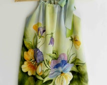 Flower silk dress hand painted for kids. Pansy hand painted dress. Pillowcase silk dress. Made to order.
