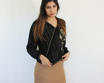 Black and Gold Vintage Sweater