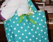 Large Reversible Tote - turqouise polka dots and green chevron