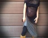 Shredded Bleached Black Dress